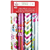JAM Paper® Design Wrapping Paper Christmas Sets - Fun Design Owl, Silver & Stripe Pattern Pack - 4 Rolls (75 Sq Ft Total)