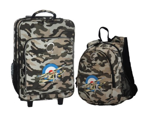 Obersee Kids Luggage And Backpack With Integrated Cooler, Camo Airplane