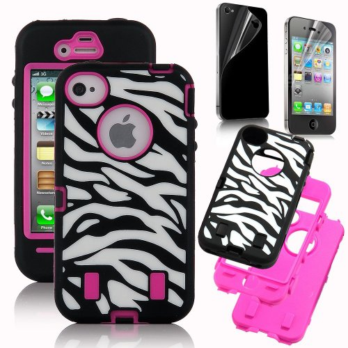 Jws Rose Pink White Zebra Combo Hard Soft High Impact iPhone 4 4S Armor Case Skin Gel with free screen protector -Best Deals And Discounts