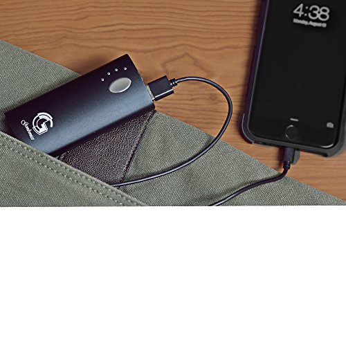 Portable Charger 6000mAh - External Battery Power Bank from Gembonics for iPhone 6 5s 5c; iPad Air 2 mini 3; Samsung Galaxy S6 S5 S4; Note, Nexus, HTC, Motorola, Nokia, PS Vita, Gopro and more (Black)
