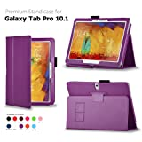 IZKA® - Samsung Galaxy Tab Pro 10.1 Leather Case Cover with Integrated Viewing Stand Typing Case + Scratch Resistant Screen Protector + Stylus Touch Screen Pen - Purple