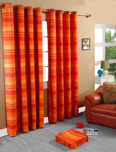 Precio barato homescapes par de cortinas con anillas for Cortinas naranjas