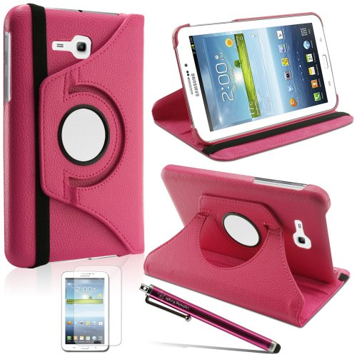 LK Luxury 360 Rotating PU Leather Case Cover For Samsung Galaxy Tab 3 Lite 7.0 T110 / T111 & Free Screen Protector + Stylus Pen (Hot Pink)