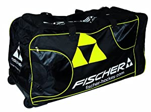 Fischer Hockey Junior Pro Player Wheel Bag, Black with Sulfur by Fischer Hockey