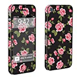 SkinGuardz Vinyl Decal Protective Sticker Skin for Apple iPhone 4 or 4s - (Black Rose Garden)
