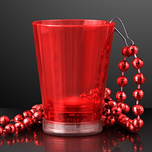 Red Light Up Shot Glass On Party Bead Necklace (Set Of 4)
