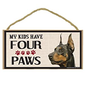 Imagine This Wood Breed Four Paws Sign, Doberman