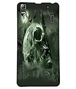 Fuson Scary Skull Back Case Cover for LENOVO A7000 - D3786