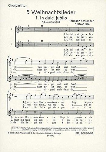 5 Weihnachtslieder: Frauen- oder Kinderchor oder 2 Solostimmen (SA) mit Klavier oder Orgel. Chorpartitur., Buch