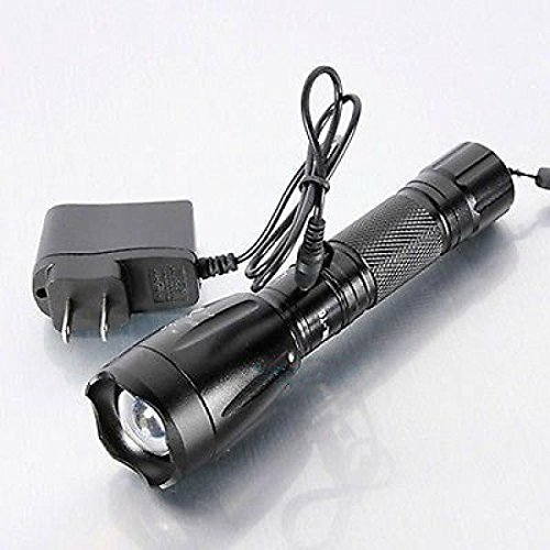 Complacency Adjustable Focus Torch Lamp LED Rechargeable Flashlight with Battery Charger Color Black
