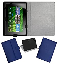 ACM LEATHER FLIP FLAP TABLET HOLDER CARRY CASE STAND COVER FOR BLACKBERRY PLAYBOOK BLUE