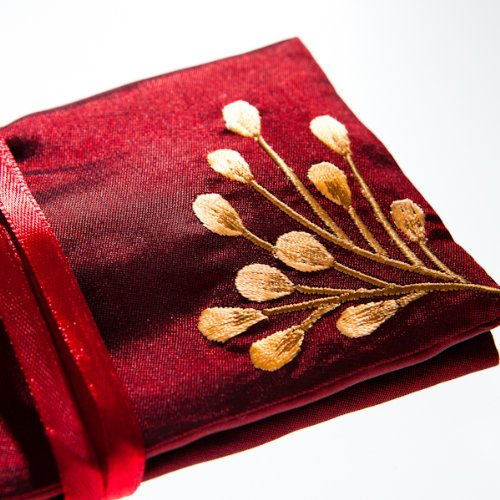 Silk Jewellery Roll, Ruby Red Silk with Embroidery, Fairtrade