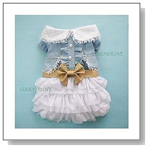 Fairy Denim Dog Dress for Dog Clothes Charming Cozy Dog Shirt Pet Dress M