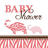 Creative Converting Baby Shower Wild Safari Pink 16 Count 3-Ply Paper Beverage Napkins by Creative Converting