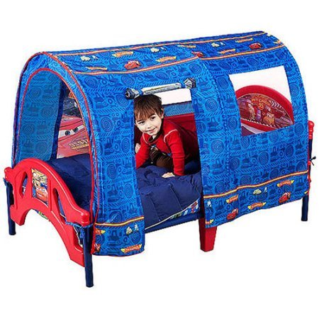 Disney Cars Durable Toddler Bed with Tent and 2 Secure Side Rails (Fire Truck Bed Tent compare prices)