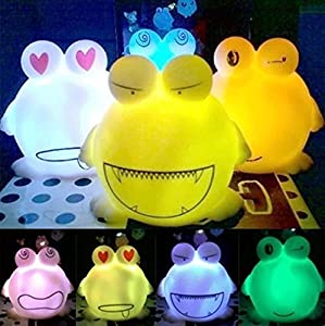 Big Mouth Frog Shape 7 Color Change Decoration LED Night Lamp from Viskey