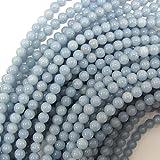"6mm blue angelite round beads 16"" strand"