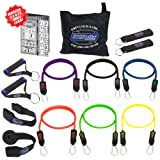 Bodylastics 14 pcs Resistance Bands Set *MAX TENSION XT with 6 Stackable anti-snap exercise tubes, Heavy Duty components, carrying case, massive 3x4 ft. Wall Chart, and FREE 3 month access to over 2000 full length resistance bands workout videos from Pilates to MMA