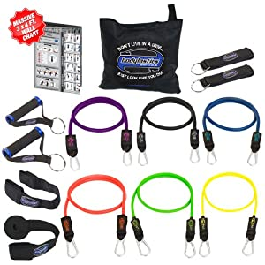 Bodylastics 13pcs Resistance Bands *MAX TENSION XT Set (142 lbs.) with 6 anti-snap exercise tubes, Heavy Duty components, carrying case, DVD and FREE 3 month membership to LIVEEXERCISE website