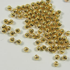 300 Beads Gold-plated Brass, 3mm Corrugated Double Cone Spacer Metal Bead Pkg of 300.