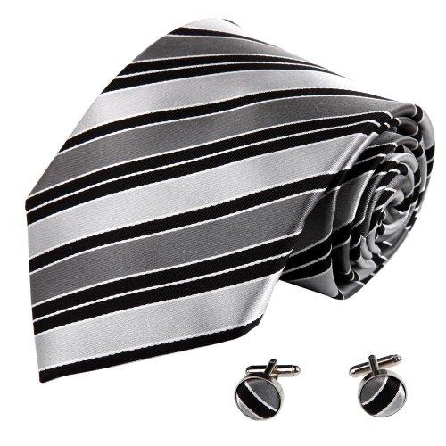A8044 Online Shopping For Design Dim Grey Ties Stripes Woven Silk Necktie Cufflinks Set 2PT By Y&G