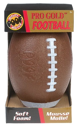 Poof-Slinky - Pro Gold 9.5-Inch Foam Football With Box, Brown, 450Bl