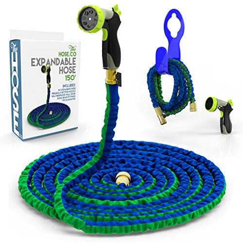 [Top Rated 150 Ft. Expandable Hose] Powerful, Portable & Proven to Last! Deluxe Expanding Garden Hose Kit: Green,Blue Double Latex KinkProof Hose, Copper Fittings, 8 Function Nozzle & Bonus Wall Hook (Dual Flex Expandable Hose compare prices)