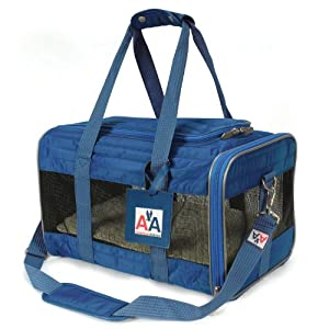"""Sherpa-American Airlines Navy Blue Duffle Pet Travel Carrier Tote Bag. Medium 17""""L x 10.5""""W x 11""""H"""