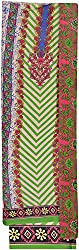 YR Traders Women's Cotton Straight Unstitched Dress Material (YR014, Green & Pink, Free Size)