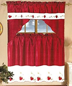 "STRAWBERRY EMBELLISHED TIER CURTAIN AND SWAG SET, 36"" Long Curtains & Swag Top"