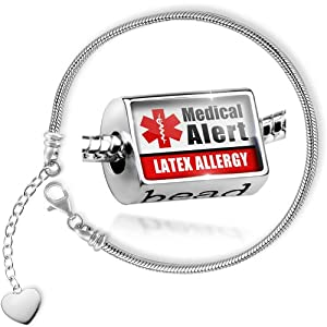 Charm Set Medical Alert Red Latex Allergy - Bead comes with Bracelet , Neonblond by NEONBLOND