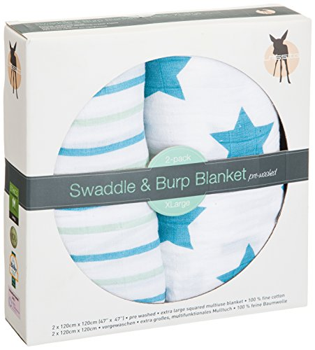 Lassig Swaddle and Burp Blanket, Stars and Stripes Boys, X-Large