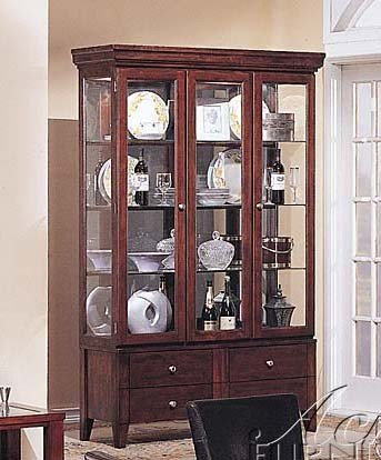 Picture of Acme Furniture Curio China Cabinet with Glass Doors Dark Brown Finish (VF_AM9494) (China Cabinets)