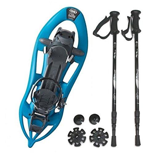 Kombi-Paket: Schneeschuh Track Easy 325 von TSL - Farbe: danube + Leichter, 3-teiliger Teleskopstock Hiker 5000