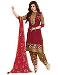 Surat Tex Red Color Casual Wear Embroidered Satin Cotton Semi-Stitched Salwar Suit - B017RAWL5M