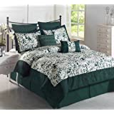 Cozy Beddings Splash Green 8-Piece Comforter Set with Microfiber Bed Cover, Queen, Hunter Green/White