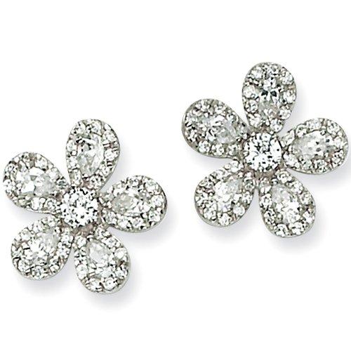 Sterling Silver Cubic Zirconia Flower Post Earrings by Cheryl M
