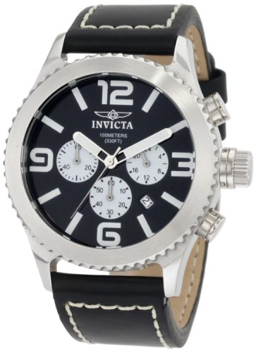 Invicta Men's 1427 II Collection Chronograph Black Dial Leather Watch