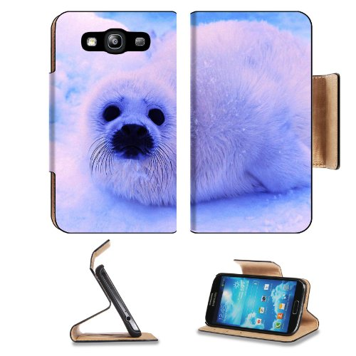 Animal Wildlife Seal Snow Cute White Furry Baby Samsung Galaxy S3 I9300 Flip Cover Case With Card Holder Customized Made To Order Support Ready Premium Deluxe Pu Leather 5 Inch (132Mm) X 2 11/16 Inch (68Mm) X 9/16 Inch (14Mm) Luxlady S Iii S 3 Professiona front-1054173
