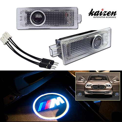 Kaizen 2 Pcs OEM Fit Super Bright LED Laser Ghost Shadow CREE Door Step Courtesy Welcome Light Lamps For BMW 1 3 5 7 CAN-bus No Error M Logo Type 01