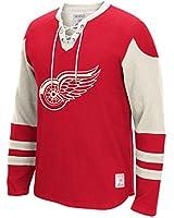 "Detroit Red Wings NHL ""Classic CCM"" Men's Long Sleeve Jersey Crew Sweatshirt"