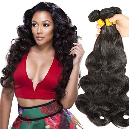 [Beautyplus Hair® Kinky Curls Body Wave 4 Bundles Malaysian Human Hair Extensions 100% Unprocessed Virgin Hair Natural Black Color for Sassy Girls' (22 22 24 24] (Wild Curl Black Wig)