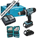 Makita BHP453 18V Corldess Hammer Drill Driver Set BHP453SHE With 2 Li-ion Batteries (1.3Ah) 30 Minute Charger and FREE Makita 25 Piece Bit Set.