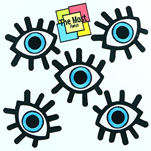 Lot of 6 pieces Big Eyeball Look Sky Rock Music Sign Embroidered Iron / Sew On Patch (Sew On Patches Punk compare prices)