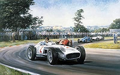 Fangio- Classic Formula One Racing Print Autographed By Juan Manuel Fangio and Stirling Moss