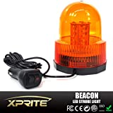 Xprite High Intensity Super Bright Yellow(Amber) Revolving 30 LED 5050 SMD 15W LED Emergency Vehicle Magnetic Mount Strobe and Rotating Beacon Warning Light
