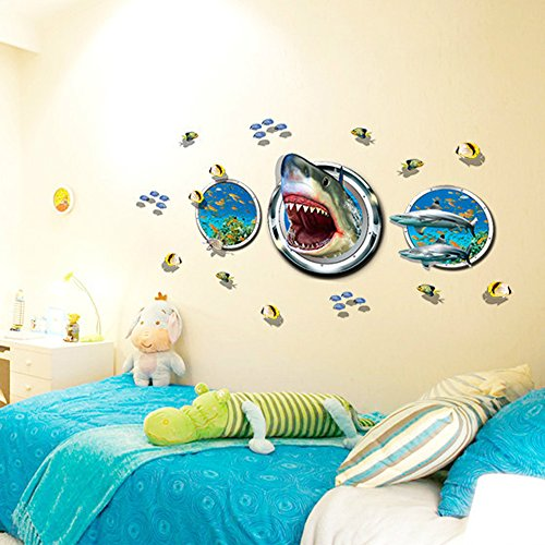 "MLM 22.4""×45.3"" 3D Three Submarines With Shark Sea Turtles Lots Of Little Fishes Wall Sticker Home Decoration Décor Art Mural Decals"