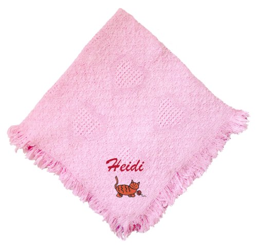 Kitty Pink 100% Cotton Custom Embroidered Personalized Baby Blanket Green Thread front-1069272