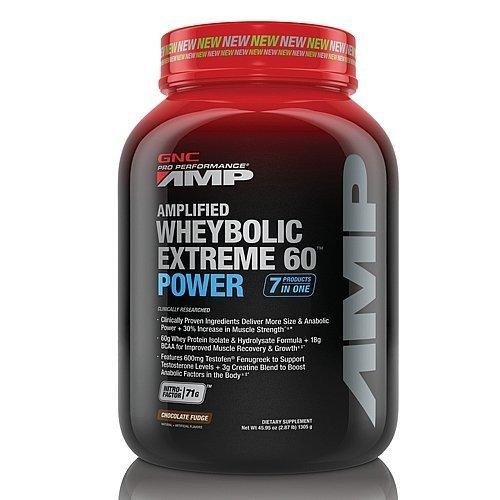 GNC Pro Performance AMP Amplified Wheybolic Extreme 60 Power Powder, Chocolate Fudge, 2.87 Pound by GNC (Wheybolic Extreme 60 Power compare prices)