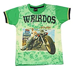 Romano Boys Green Cotton T-Shirt